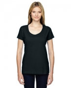 Embroidered LAT Ladies' Fine Jersey Deep Scoop Neck Longer Length T-Shirt