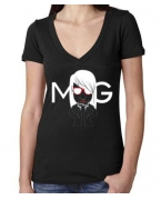 Embroidered Money Gang Girl Black V Neck