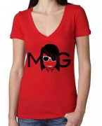 Custom Embroidered Money Gang Girl Red V Neck