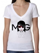 Embroidered Money Gang Girl White V Neck