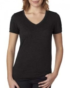 Embroidered Next Level Ladies' Poly/Cotton V-Neck Tee