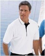 Custom Logo Outer Banks 6.8 oz. Ringspun Cotton Piqu Polo with Stripe Trim