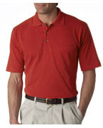 Monogrammed UltraClub Adult Classic Pique Polo with Pocket