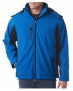 Promotional UltraClub Adult Color Block 3-in-1 Systems Hooded Soft Shell Jacket