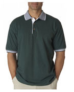 Logo UltraClub Adult Color-Body Classic Pique Polo with Contrasting Multi-Stripe Trim