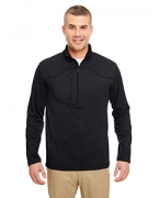 Logo UltraClub Adult Cool & Dry Box Jacquard 1/4-Zip Micro-Fleece
