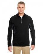 Custom Embroidered UltraClub Adult Cool & Dry Color Block Dimple Mesh 1/4-Zip Pullover