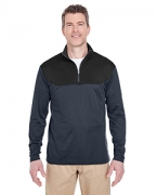 Logo UltraClub Adult Cool & Dry Sport Color Block 1/4-Zip Pullover