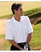 Logo UltraClub Adult Cool & Dry Sport Polo with Pocket