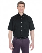 Embroidered UltraClub Adult Cypress Twill Short-Sleeve Shirt with Pocket