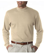 Logo UltraClub Adult Egyptian Interlock Long-Sleeve Mock Turtleneck