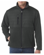 Logo UltraClub Adult Fleece Jacket with Quilted Yoke Overlay