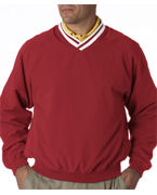 Promotional UltraClub Adult Long-Sleeve Microfiber Cross-Over V-Neck Windshirt