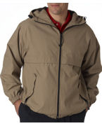 Logo UltraClub Adult Microfiber Hooded Zip-Front Jacket