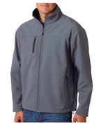 Promotional UltraClub Adult Soft Shell Jacket with Cadet Collar