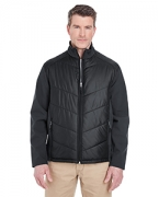 Logo UltraClub Adult Soft Shell Jacket with Quilted Front & Back
