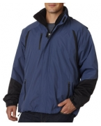 Logo UltraClub Adult Three-in-One Color Block Systems Jacket