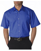 Custom Logo UltraClub Adult Whisper Twill Short-Sleeve Shirt