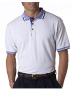 Logo UltraClub Adult White-Body Classic Pique Polo with Contrasting Multi-Stripe Trim