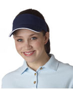 Logo UltraClub Classic Cut Brushed Cotton Twill Sandwich Visor