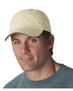 Custom Embroidered UltraClub Classic Cut Brushed Cotton Twill Unconstructed Sandwich Cap