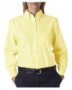 Monogrammed UltraClub Ladies' Classic Wrinkle-Free Long-Sleeve Oxford