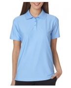 Logo UltraClub Ladies' Cool & Dry Elite Tonal Stripe Performance Polo