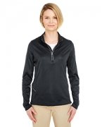 Logo UltraClub Ladies' Cool & Dry Sport 1/4-Zip Pullover