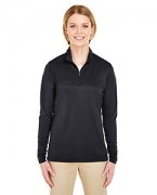 Logo UltraClub Ladies' Cool & Dry Sport Performance Interlock 1/4-Zip Pullover