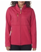 Logo UltraClub Ladies' Fleece Jacket with Quilted Yoke Overlay