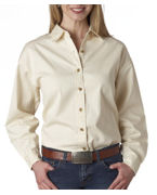 Customized UltraClub Ladies' Long-Sleeve Cypress Denim
