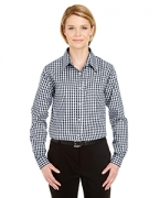 Monogrammed UltraClub Ladies' Medium-Check Woven