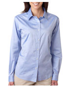 Monogrammed UltraClub Ladies' Non-Iron Pinpoint Shirt
