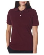 Monogrammed UltraClub Ladies' Platinum Honeycomb Piqu Polo