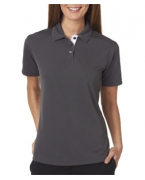 Logo UltraClub Ladies' Platinum Performance Birdseye Polo with TempControl Technology