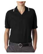 Customized UltraClub Ladies Short-Sleeve Whisper Pique Polo with Rib Collar and Cuff Tipping