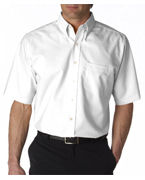 Custom Embroidered UltraClub Men's Classic Wrinkle-Free Short-Sleeve Oxford