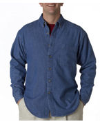 Monogrammed UltraClub Men's Long-Sleeve Cypress Denim with Pocket