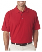 Custom Logo UltraClub Men's Platinum Honeycomb Pique Polo