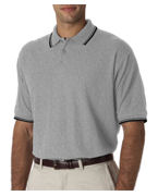 Logo UltraClub Men's Short-Sleeve Whisper Pique Polo with Rib Collar and Cuff Tipping