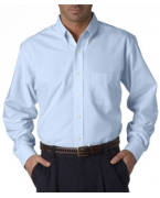 Logo UltraClub Men's Tall Classic Wrinkle-Free Long-Sleeve Oxford