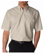 Logo UltraClub Men's Tall Classic Wrinkle-Free Short-Sleeve Oxford