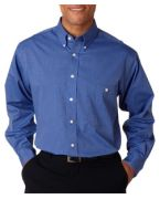 Logo UltraClub Men's Wrinkle-Free End-on-End Shirt