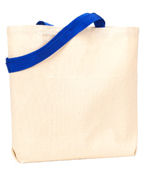 Custom Logo UltraClub Recycled Cotton Canvas Tote With Contrasting Handles