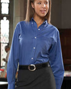 Custom Embroidered Van Heusen Ladies' Long-Sleeve Wrinkle-Resistant Oxford