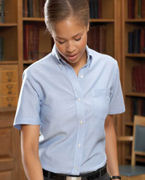 Customized Van Heusen Ladies' Short-Sleeve Wrinkle-Resistant Oxford