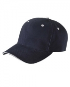 Logo Yupoong Brushed Cotton Twill 6-Panel Mid-Profile Sandwich Cap